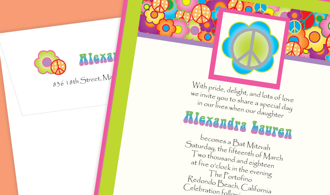 70's Peace Bat Mitzvah Invitation Detail