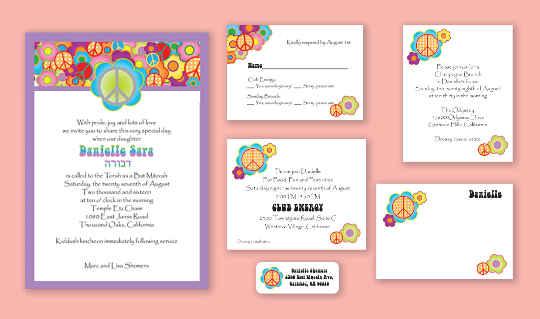 70's Peace Bat Mitzvah Invitation Set