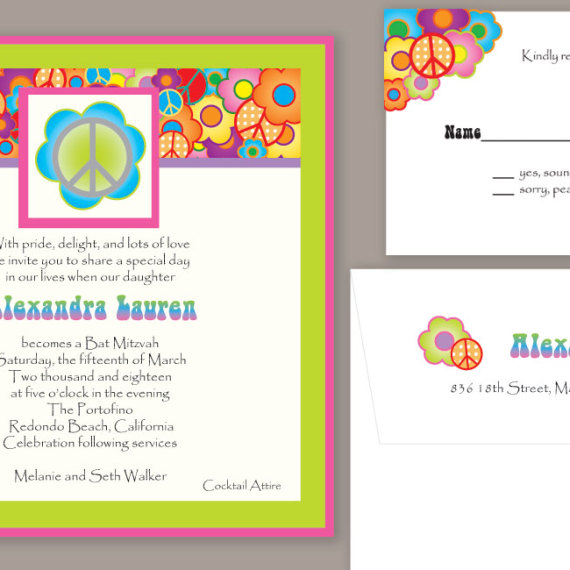 70's Peace Bat Mitzvah Invitation Set#2