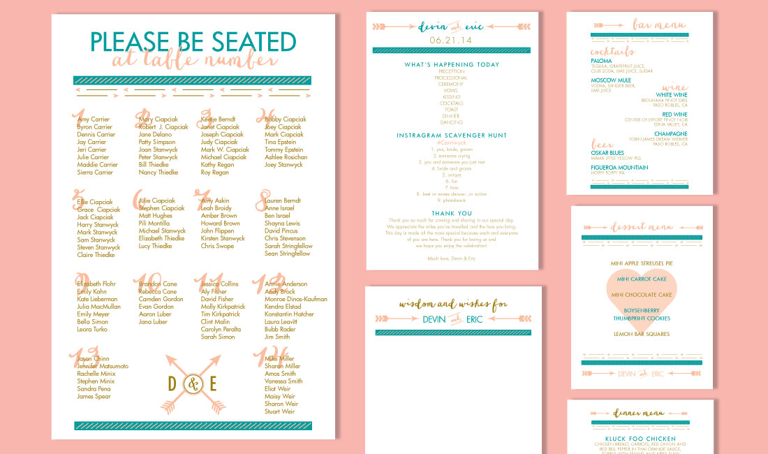 Arrows Wedding Invitation Menus