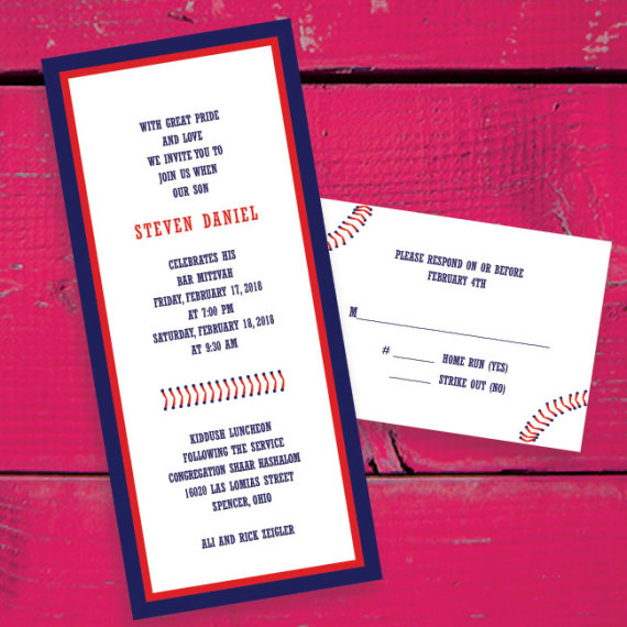 Baseball Stitch Bar Mitzvah Invitation