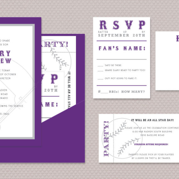 Baseball Field Bar Mitzvah Invitation Set