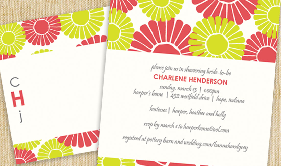Flower Bloom Shower Invitation Red