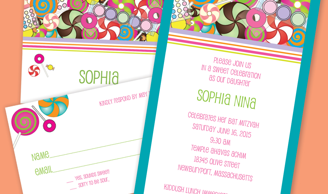 Candyland Bat Mitzvah Invitation Detail