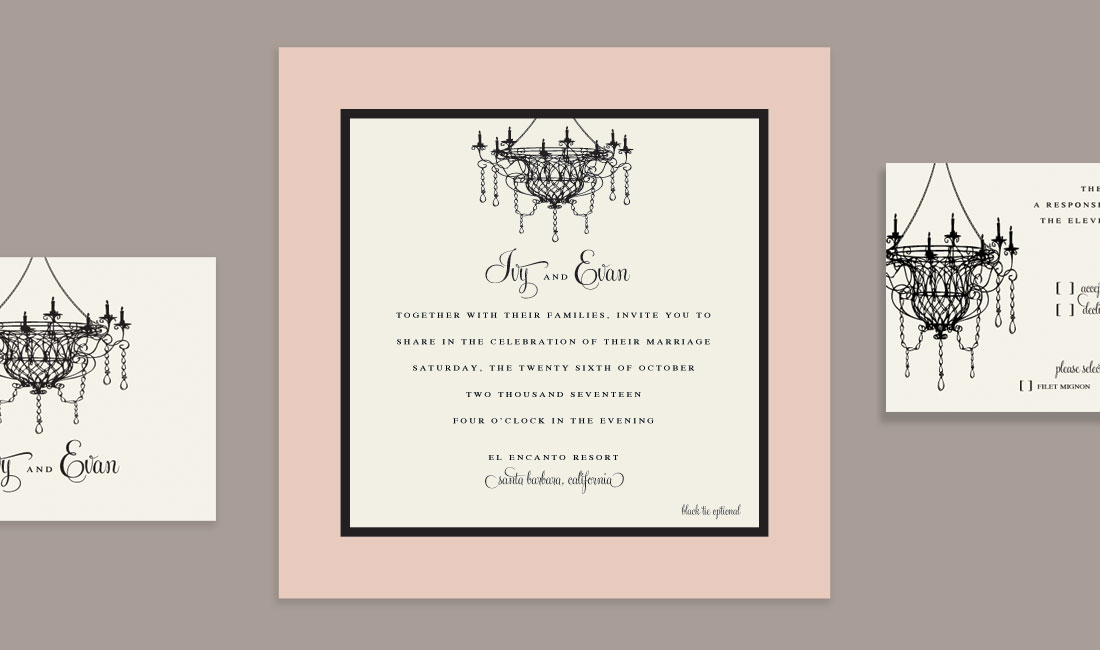 Chandelier Wedding Invitation Detail