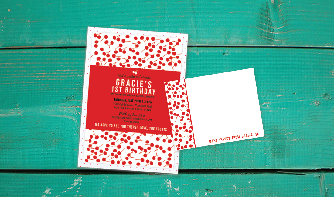 Cherry Pattern Invitation