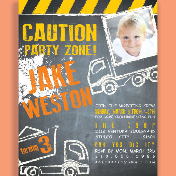 Kids Construction Invitation Detail