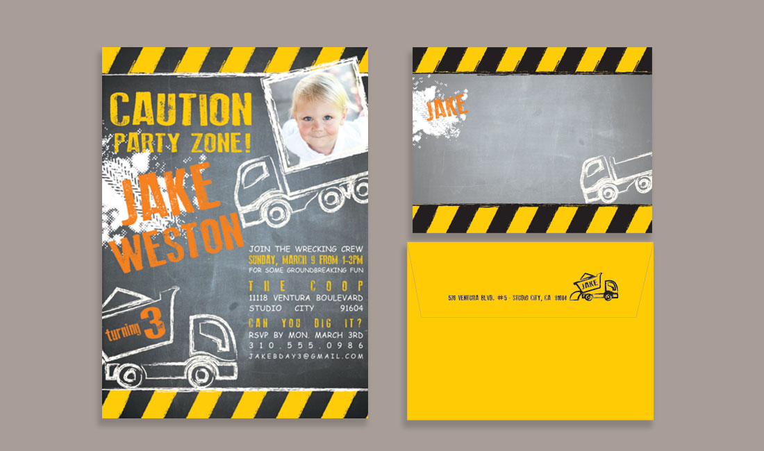 Kids Construction Invitation Set