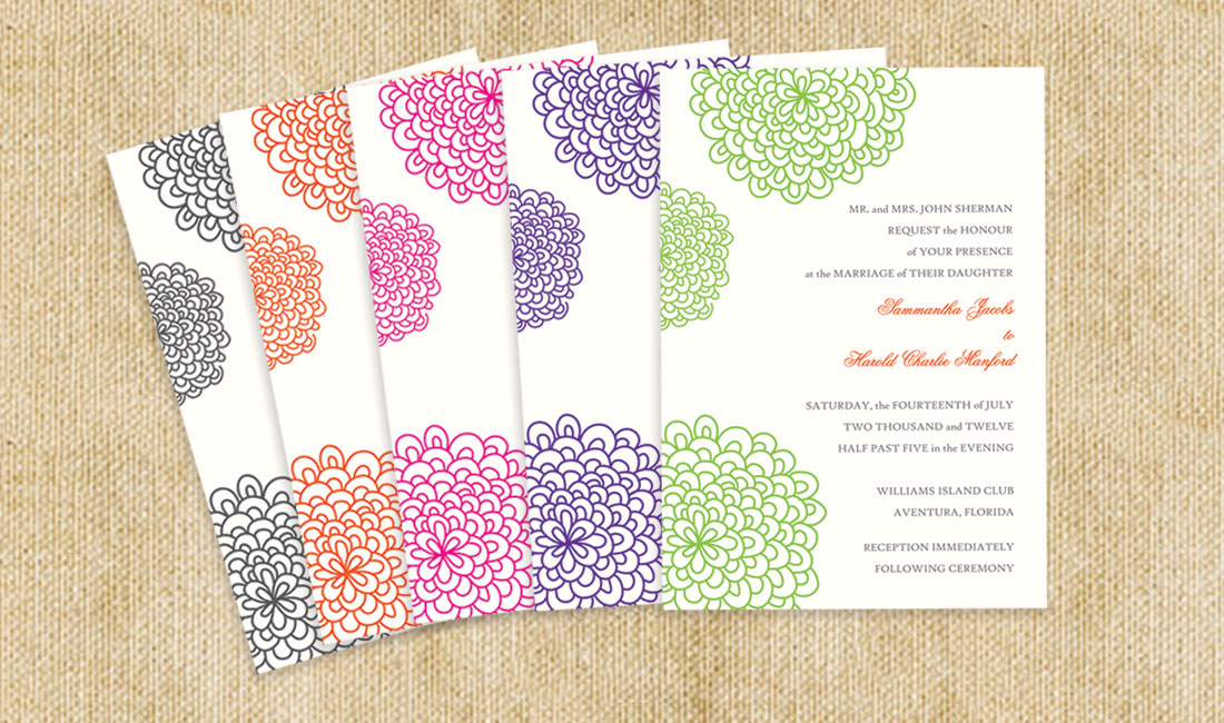Floral Splash Wedding Invitation Colors