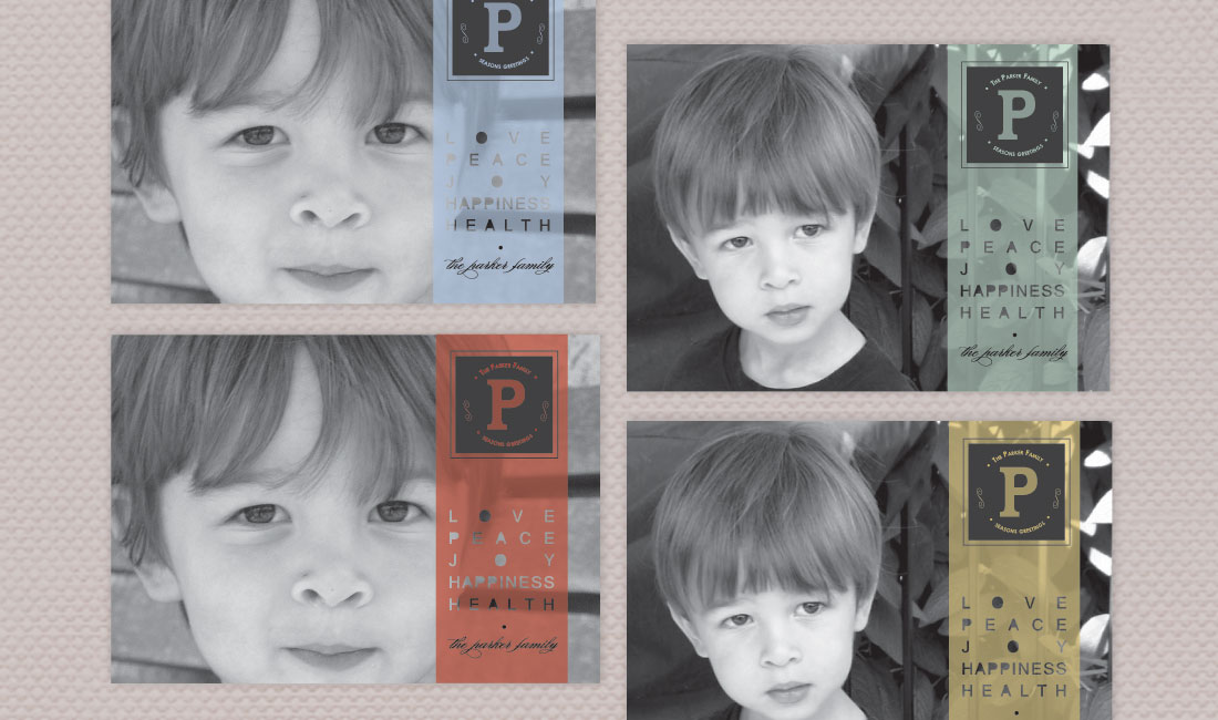 Color Stripe Photo Card Colors