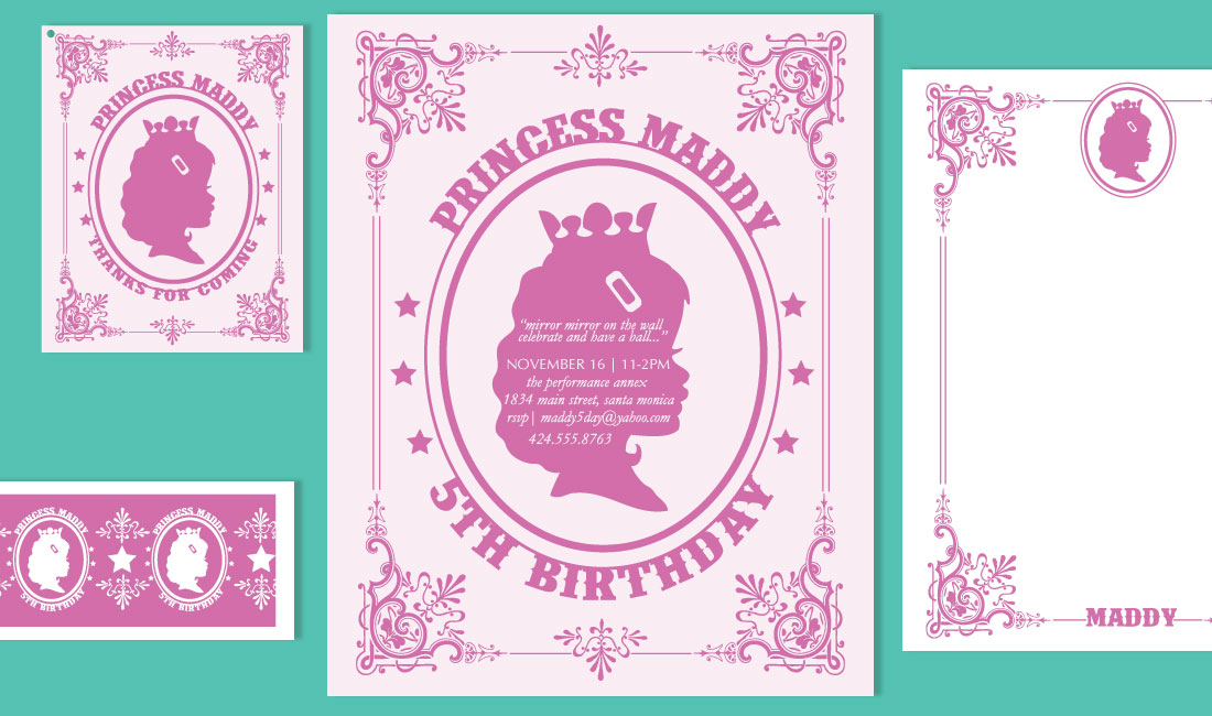Princess Birthday Invitation Set