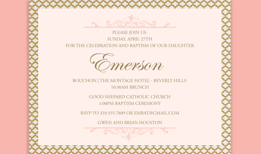 Gold + Coral Trellis Invitation Detail