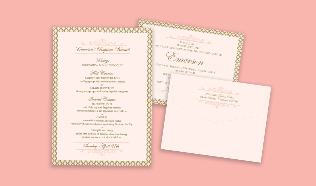 Gold + Coral Trellis Invitation
