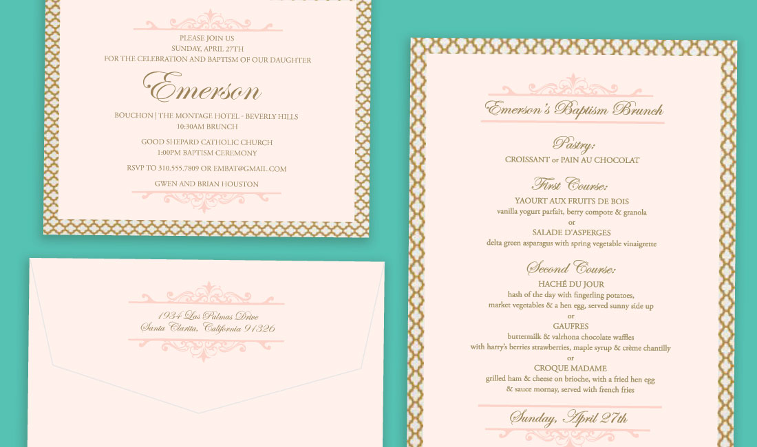 Gold + Coral Trellis Invitation Menu