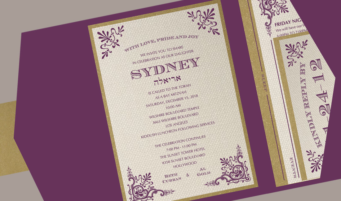 Victorian Bat Mitzvah Invitation Detail