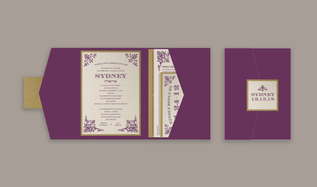 Victorian Bat Mitzvah Invitation Pocket