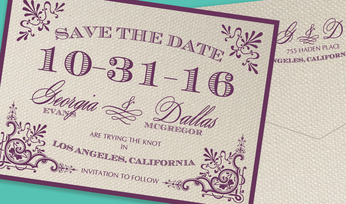 Vintage Victorian Save the Date Detail