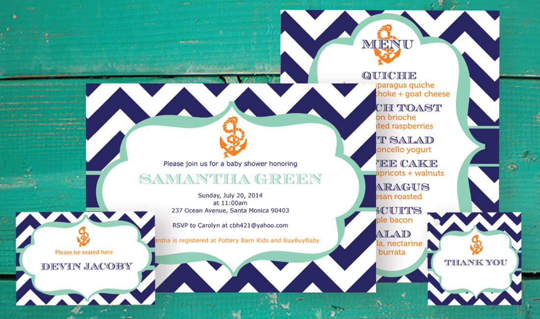 Anchor Shower Invitation Set