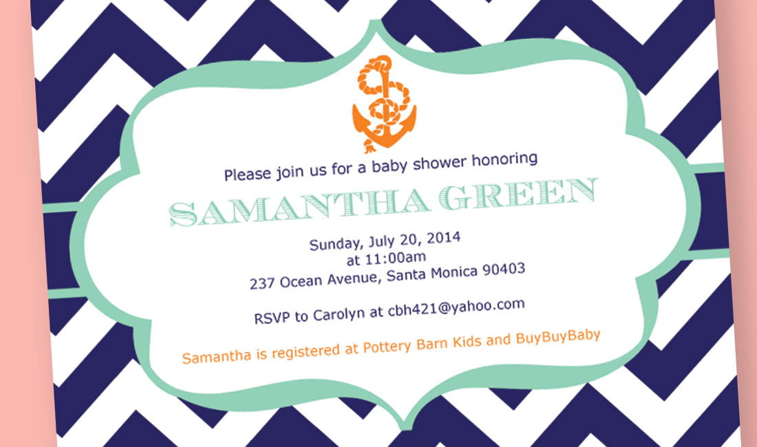 Anchor Shower Invitation Detail