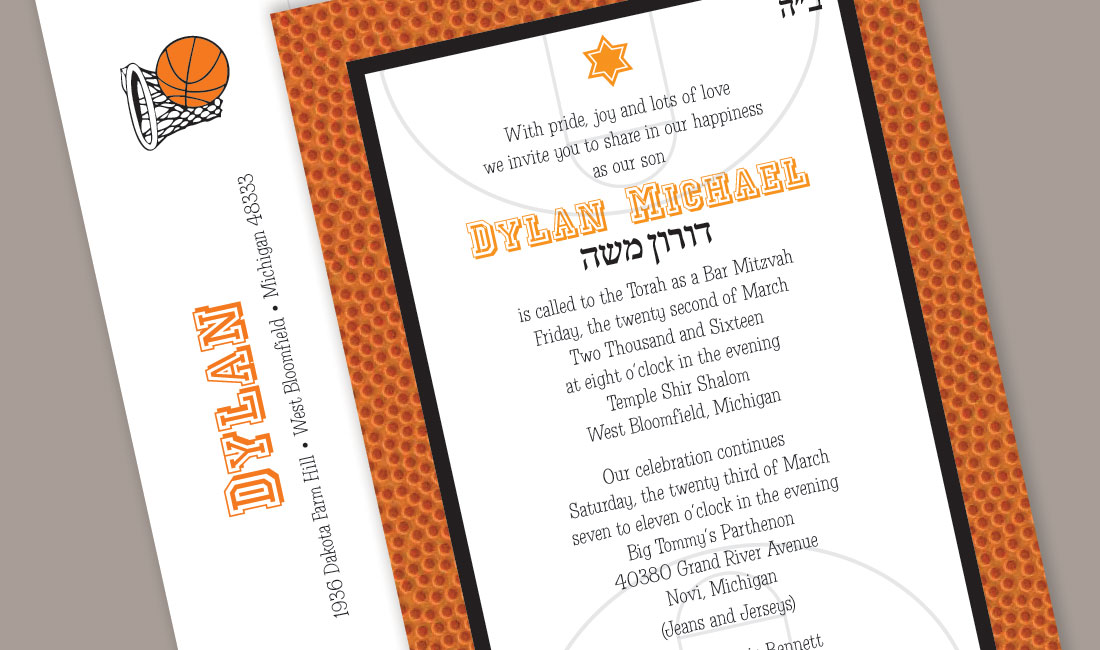 Basketball Bar Mitzvah Invitation Detail