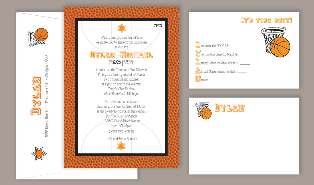 Basketball Bar Mitzvah Invitation Set
