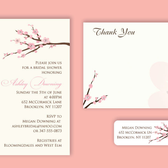 Cherry Blossom Shower Invitation Set