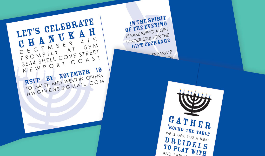 Chanukah Menorah Invitation Detail