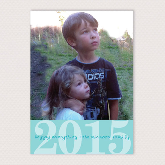 Holiday Photo Cards Simple Year Color Block