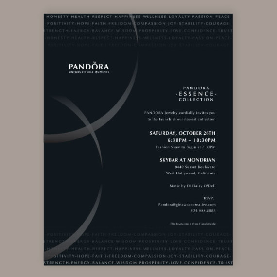 Pandora Essence Event Invite