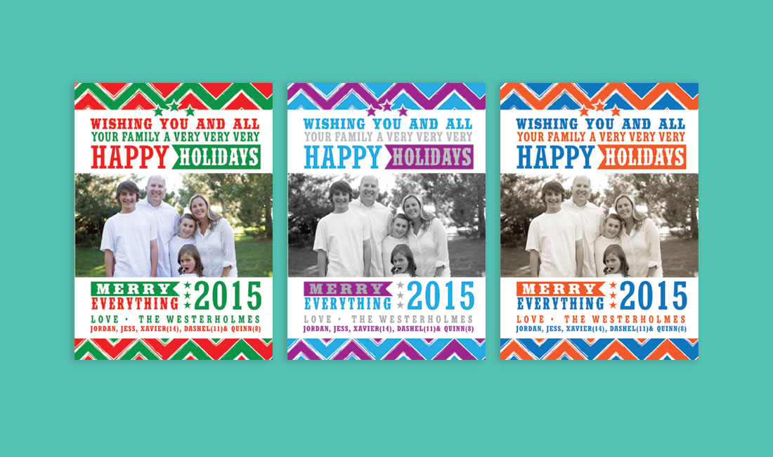 Holiday Chevron Photo Card Options