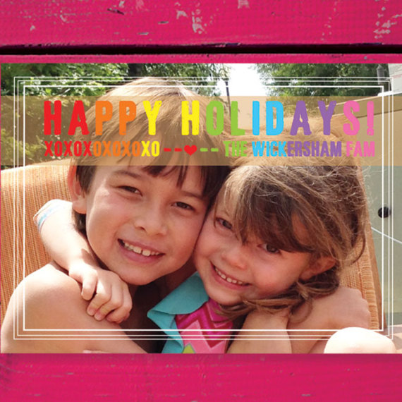 Holiday Photo Card with Rainbow Wording