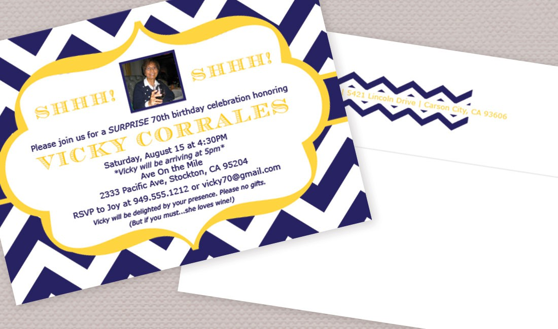 Chevron Birthday Photo Invitation Detail