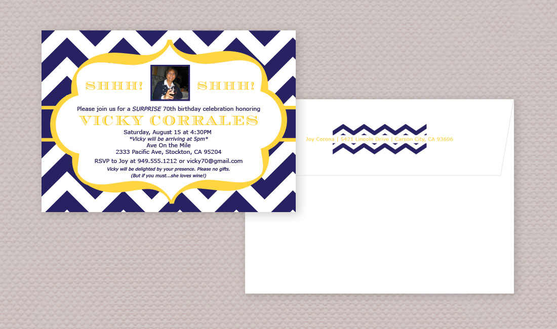 Chevron Birthday Photo Invitation