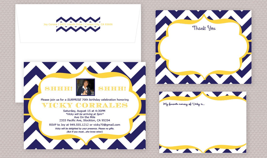 Chevron Birthday Photo Invitation Sample