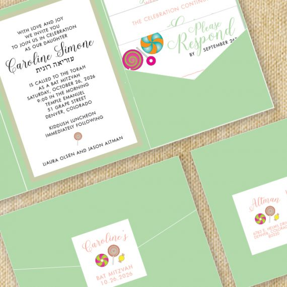 Mint + Gold Candy Theme Mitzvah Invitation Close up