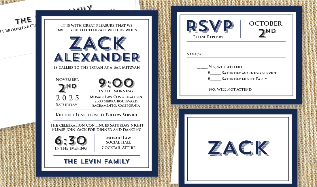 Navy + Black Modern Invite