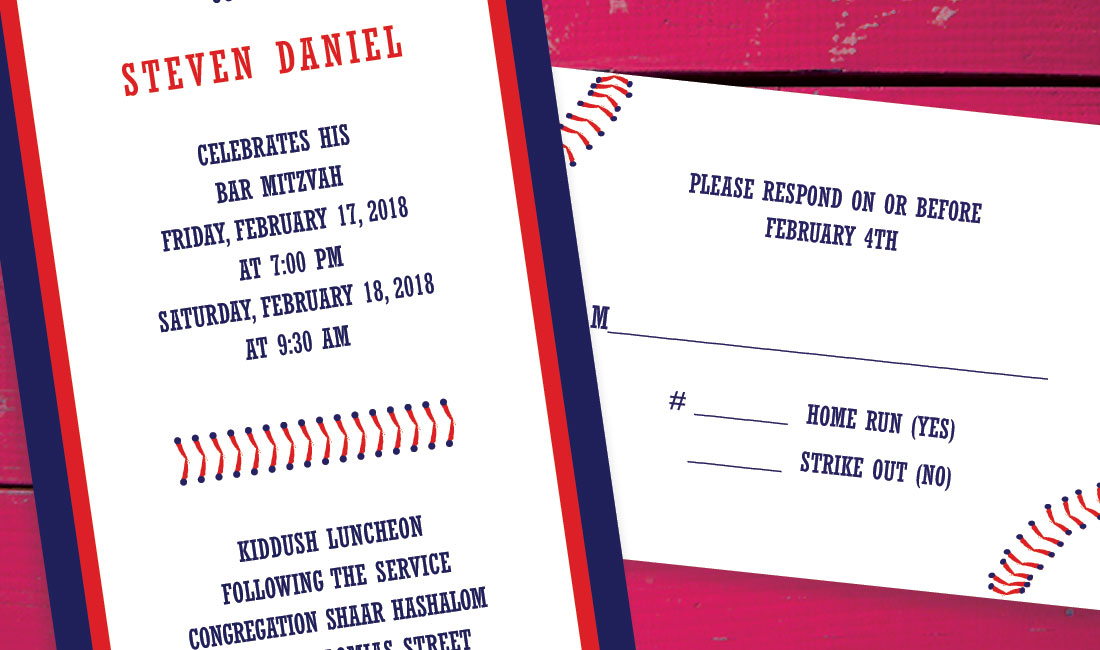 Baseball Stitch Bar Mitzvah Invitation Detail