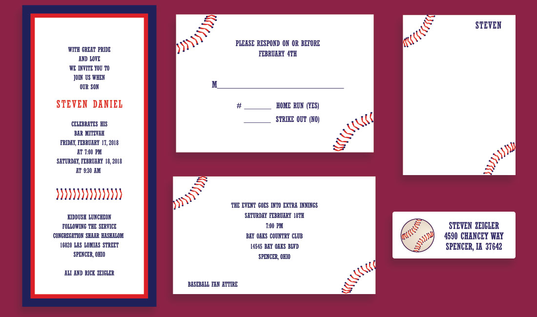 Baseball Stitch Bar Mitzvah Invitation Set