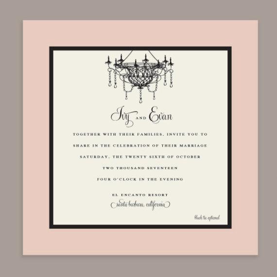 Chandelier Wedding Invitation Detail