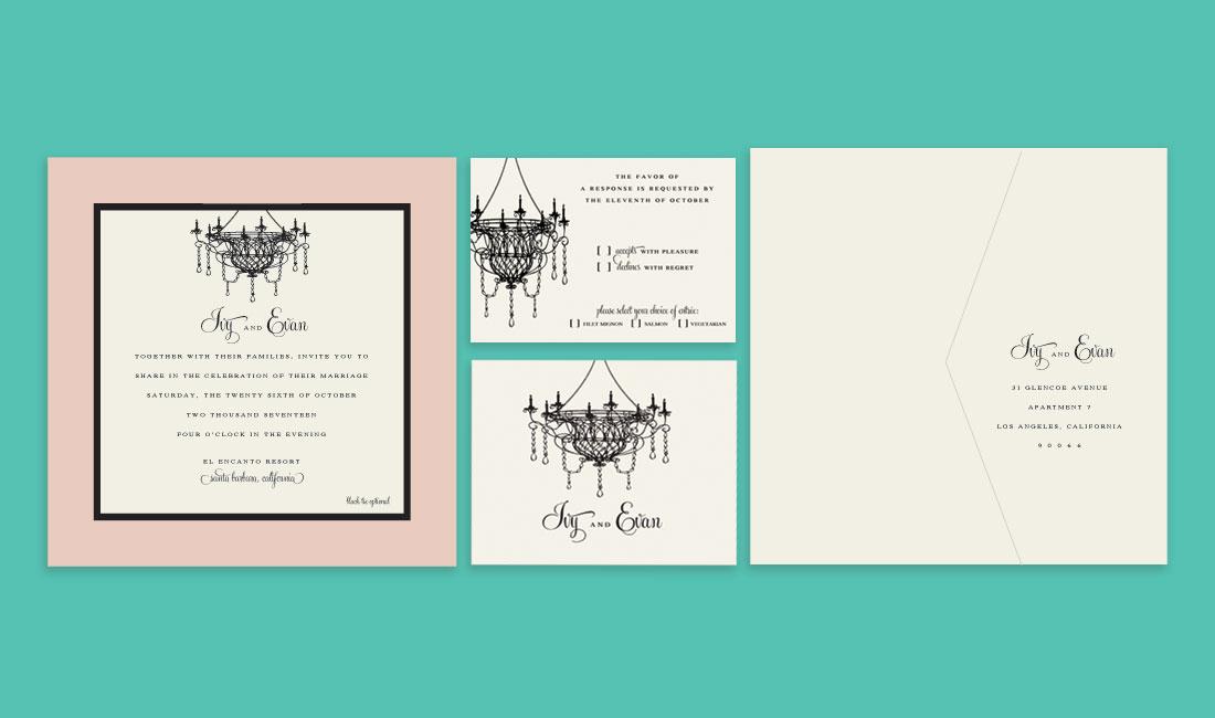 Chandelier Wedding Invitation Set
