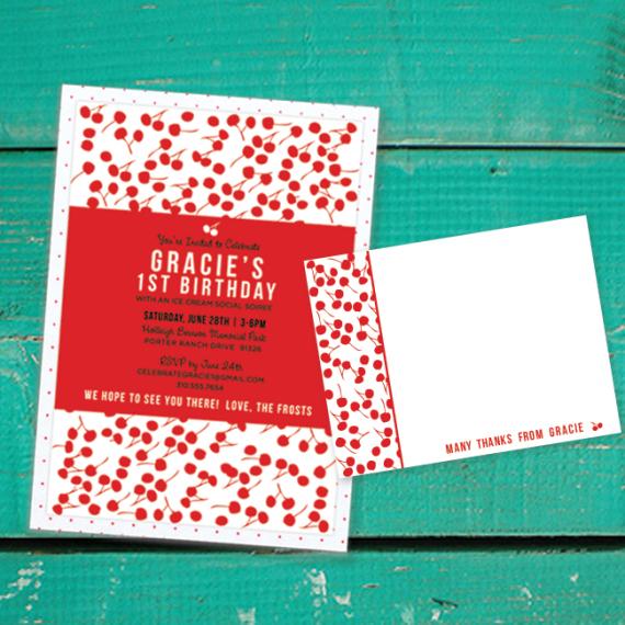 Cherry Pattern Invitation
