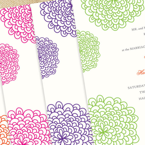 Floral Splash Wedding Invitation Detail