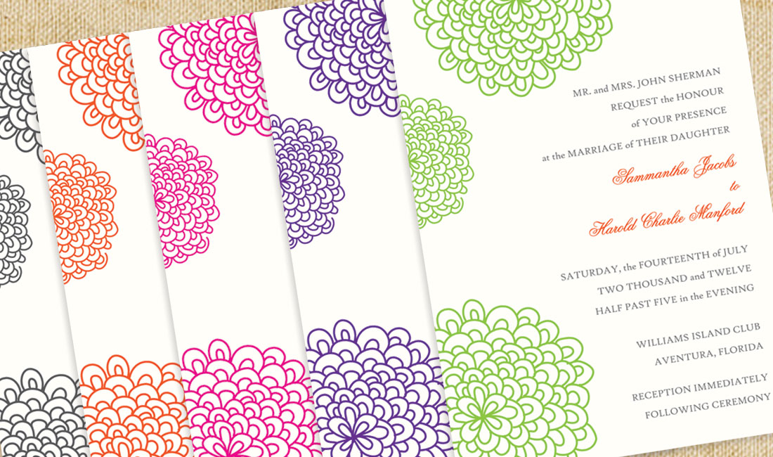 Floral Splash Wedding Invitation Detail