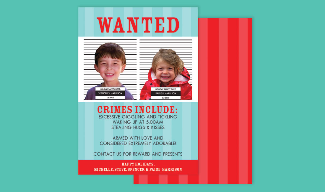 Holiday Photo Cards Arrest Theme