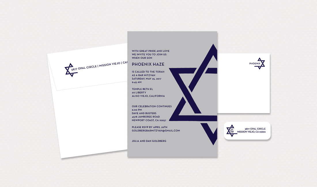 Jewish Star Bar Mitzvah Invitation Set