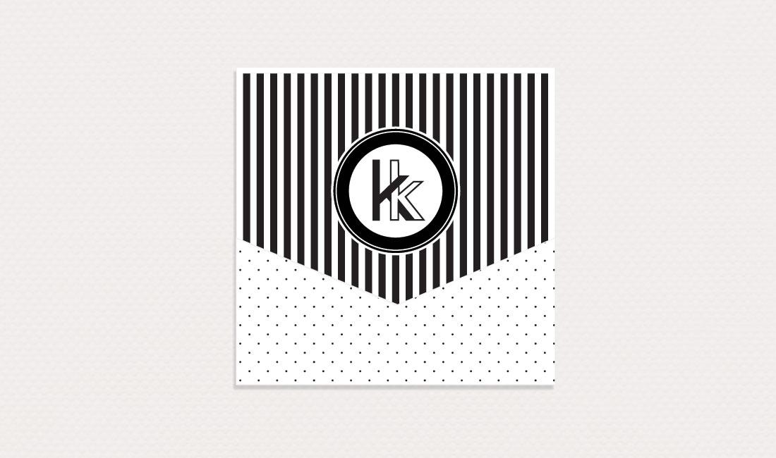 Black + White Swiss Dot Wedding Mongram