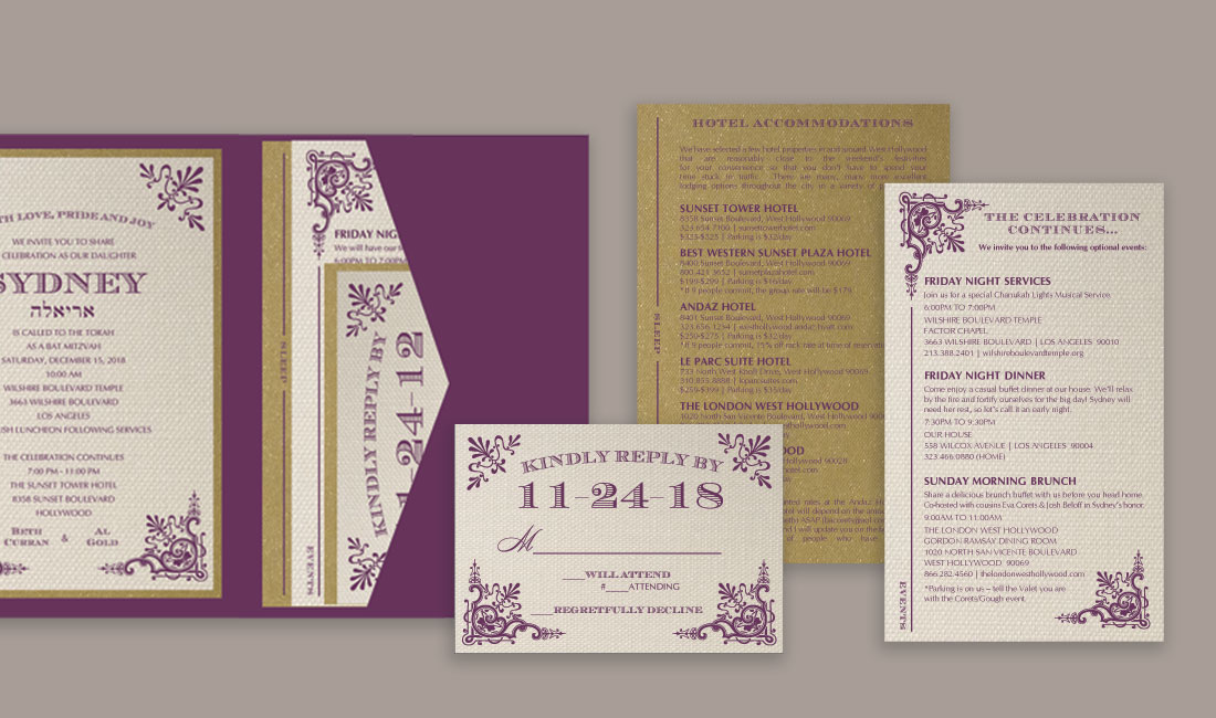 Victorian Bat Mitzvah Invitation Inserts
