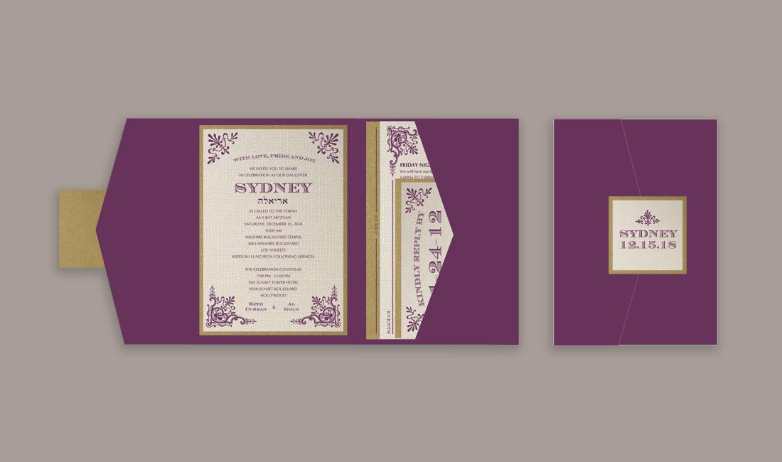 Victorian Bat Mitzvah Invitation Pocket