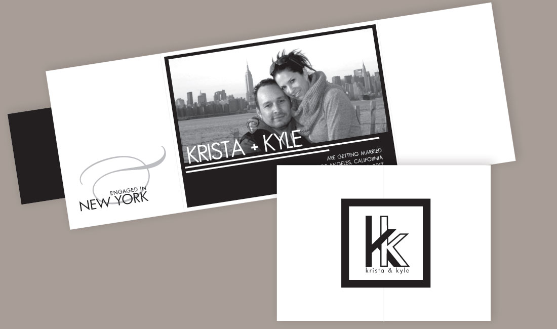 Black and White Save the Date Gate Fold