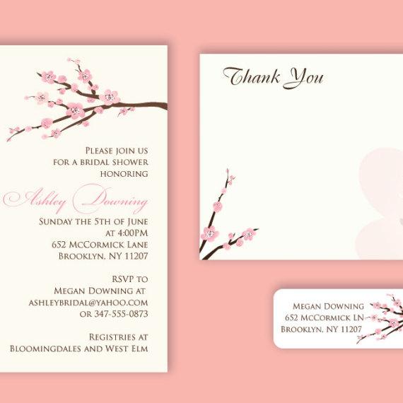 Cherry Blossom Shower Invitation Set